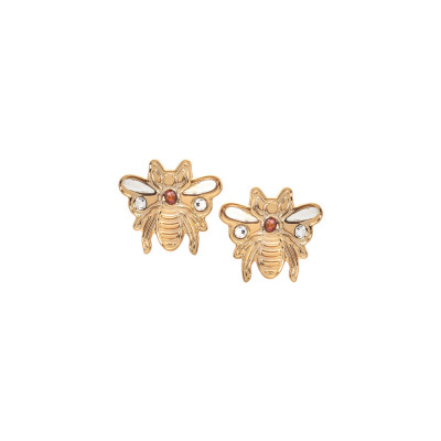 Stud earrings with small bee of Swarovski