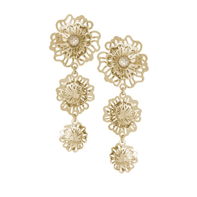Golden dangle earrings with three-dimensional degraded wild roses and zircons