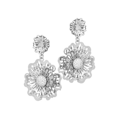 Earrings with wild rose and pendant zircons
