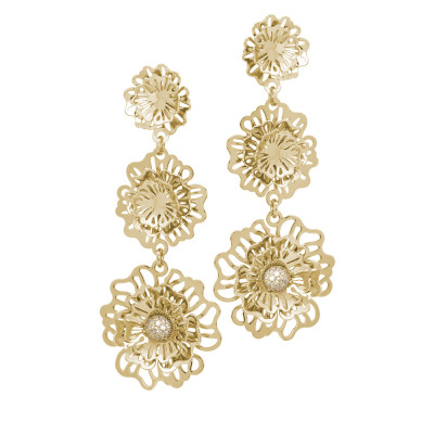Golden earrings with wild roses, drooping pendants and zircons