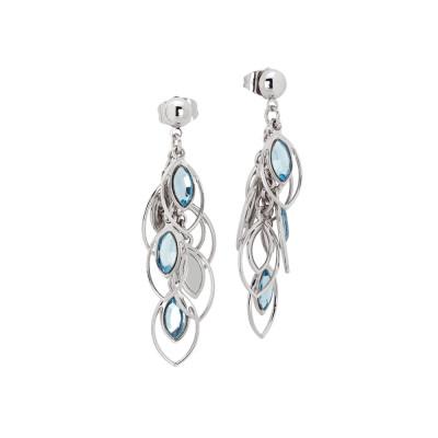 Earrings in tuft with Swarovski aquamarine