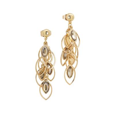 Earrings in tuft with Swarovski golden shadow