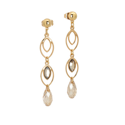 Earrings with hanging wheat grains and Swarovski golden shadow
