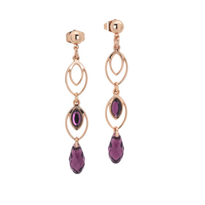 Earrings with hanging wheat grains and Swarovski amethyst