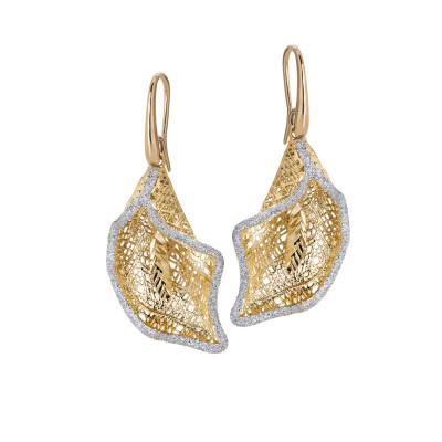 Earrings with calla pendant in silver glitter
