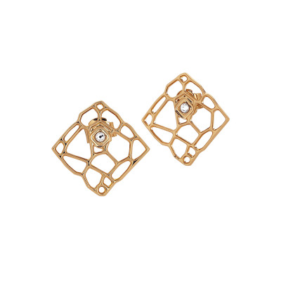 Pink lobe earrings with mesh and Swarovski weave