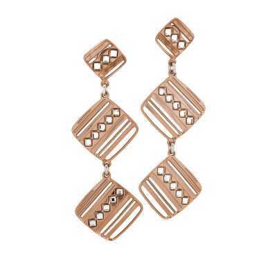 Rosé earrings with pendant modules decorated by Swarovski