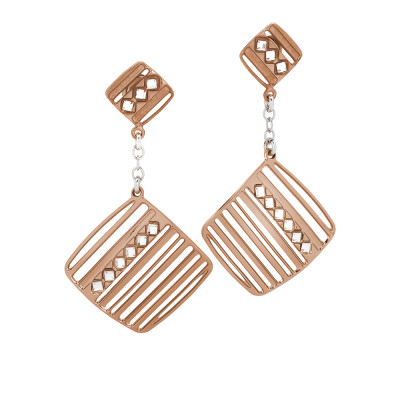 Rosé earrings with pendant decorated by Swarovski