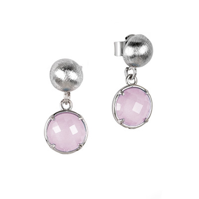 Earrings with rose-colored quartz-milk crystals