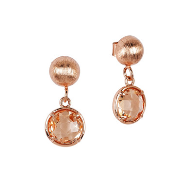Earrings with peach crystals