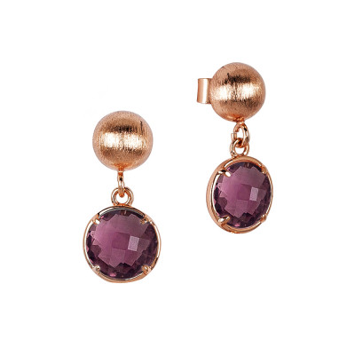 Earrings with amethyst crystals