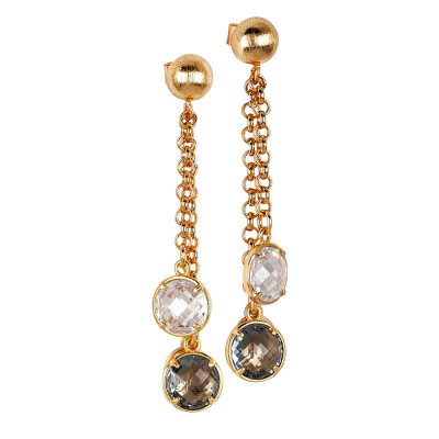 Tufted earrings with fum and crystal crystals