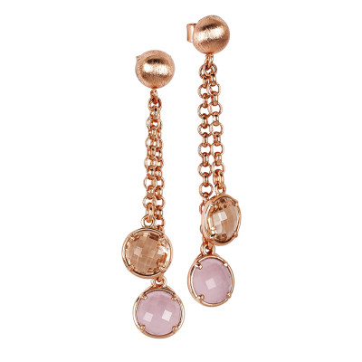 Tufted earrings with peach crystals and rose milk quartz color