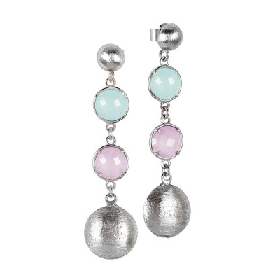 Hanging rhodium-plated earrings with milk-green and rose-quartz milk-colored crystals