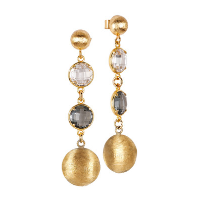 Golden pendant earrings with crystal and fum crystals