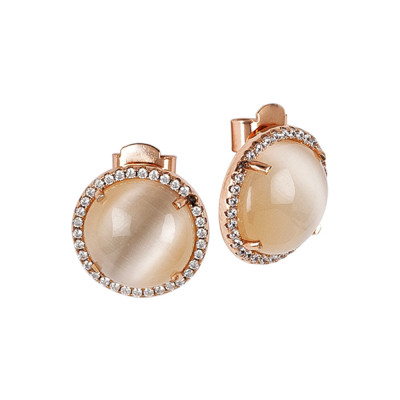 Stud earrings with zircons and beige cabochons
