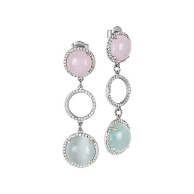 Drop earrings with cubic zirconia and light blue and pink cabochons
