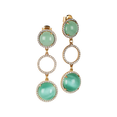 Drop earrings with cubic zirconia and aqua green cabochon and dull green water