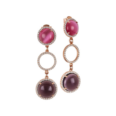 Drop earrings with cubic zirconia and fuchsia and amethyst cabochons