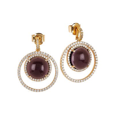 Earrings with zircons and amethyst cabochon flecked
