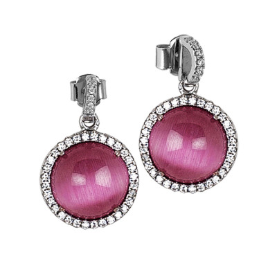 Earrings with fuchsia cabochon pendant and zircons