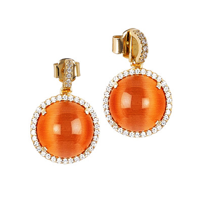 Earrings with orange cabochon pendant and zircons
