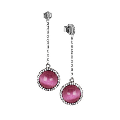 Earrings with cubic zirconia pendant and fuchsia fuchsia cabochon