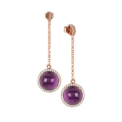 Earrings with cubic zirconia pendant and flecky amethyst cabochon