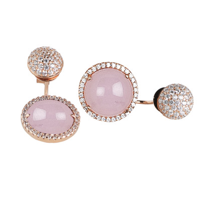 Reversible earrings with cubic zirconia and light pink cabochon