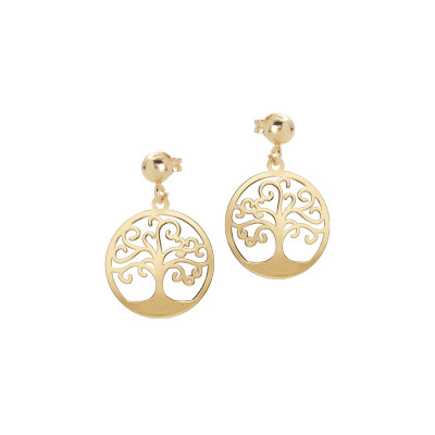 Golden earrings with pendant tree of life