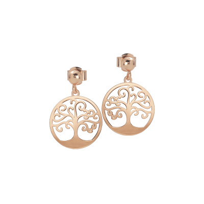 Rosé earrings with pendant tree of life