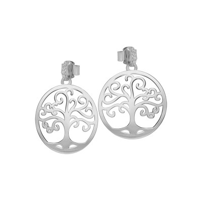 Rhodium-plated earrings with tree of life and zircons