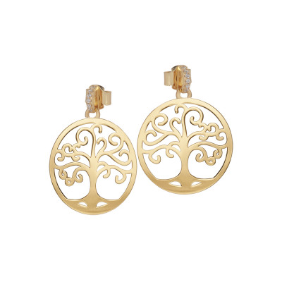 Golden earrings with tree of life and zircons