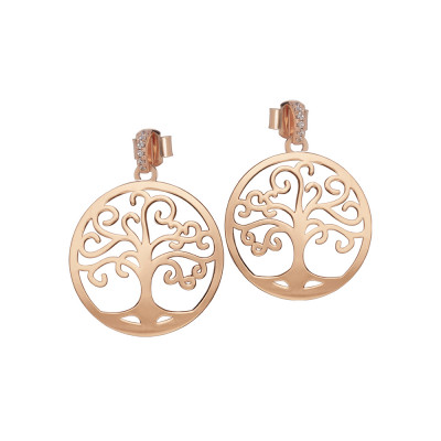 Rose gold plated earrings with life tree and zircons