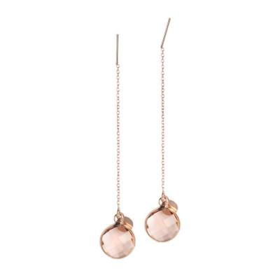 Orecchini saliscendi con cristallo briolette light peach