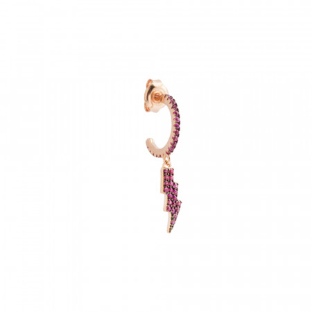 Half moon earring with lightning of fuchsia cubic zirconia