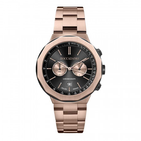 Rose gold plated chronograph watch with black dial