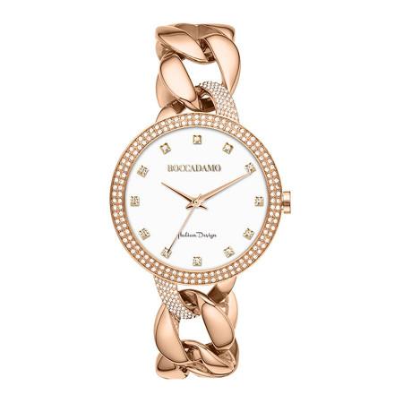 Wristwatch woman with double ring wire Swarovski and Bracelet groumette rosato