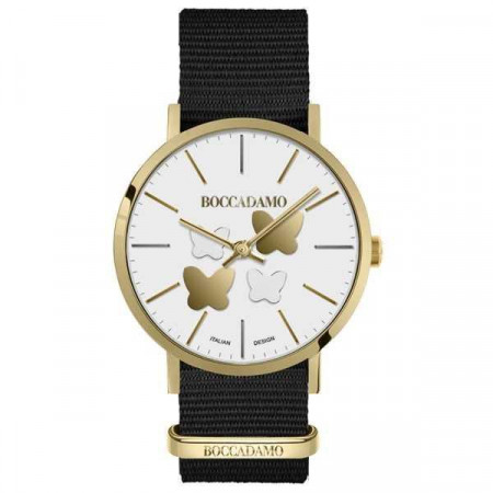 Ladies watch with white dial, golden butterflies and Lanyard Nylon
