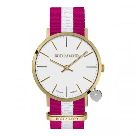 Ladies watch with white dial, golden cash, side charm and Lanyard Nylon