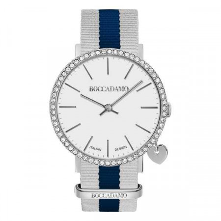 Watch lady with white dial, box in Swarovski, side charm and Lanyard Nylon