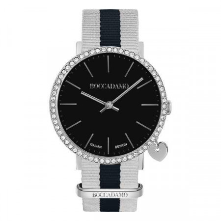 Watch lady with black dial, box in Swarovski, side charm and Lanyard Nylon