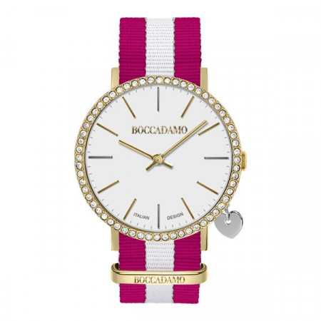 Watch lady with white dial, golden cash in Swarovski, side charm and Lanyard Nylon