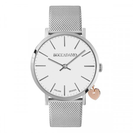 Watch lady with white dial, silver cash and charm side rosato