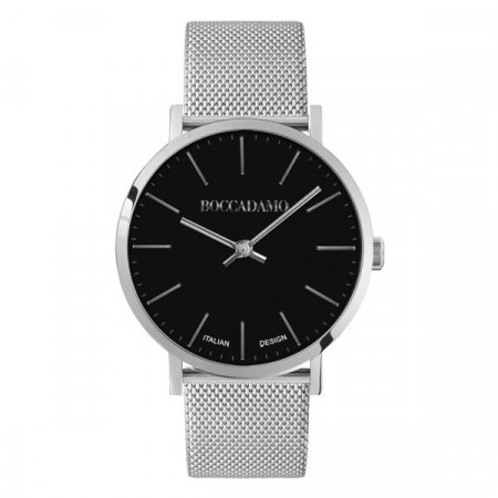 Clock with black dial and strap Milan mesh of steel