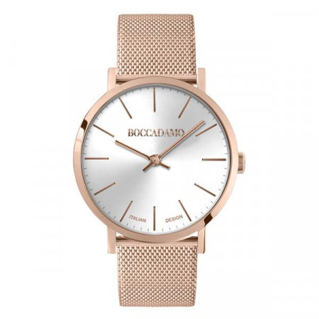 Clock with silver dial and mesh strap Milan in steel rosato