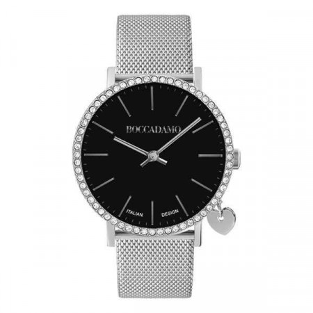 Watch lady with black dial, box in Swarovski and lateral charm