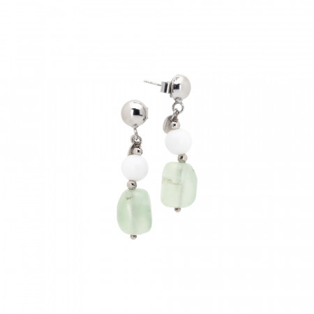 Earrings with white agate and garnet