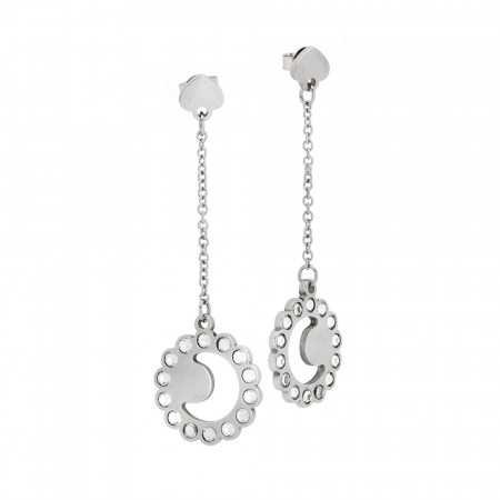 Earrings with half moon and Swarovski