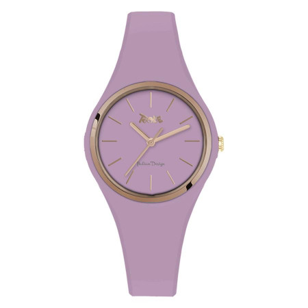 Watch lady in silicone anallergic wisteria and pink ring